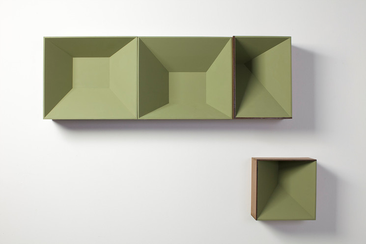 Four green boxes, 2013, wall paint and wood stain on MDF, 105 x 80 x 16 cm