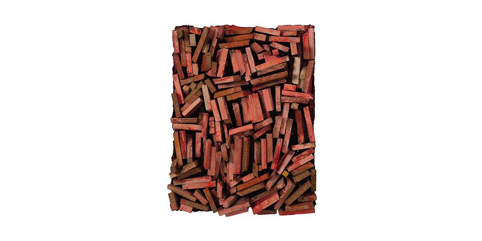 Brick red, 2016, mixed media, 67 x 53 cm