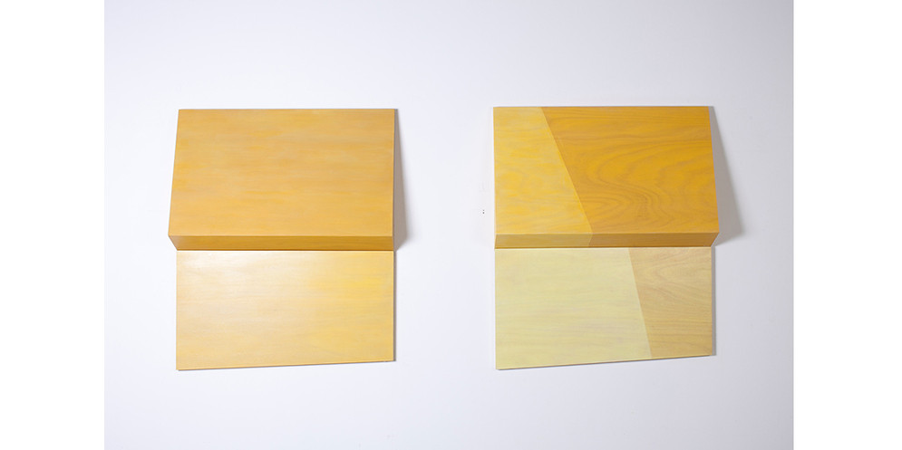 Folding Yellow / Folding Yellow-Divided, 2013, acrylic on wood, 81 x 93 x 15 cm each