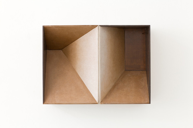 Two shadow boxes, 2013, wood stain on MDF, 47 x 34 cm