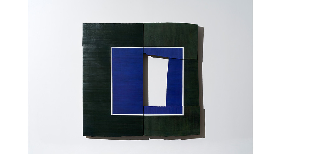 Blue Square with white stripe, 2019, acrylic on wood, 122 x 124 cm