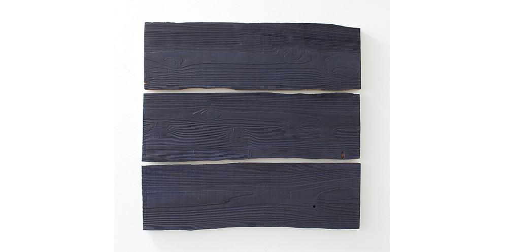 Red Cedar-Charcoal Blue, 2013, acrylic on wood, 91 x 96 cm