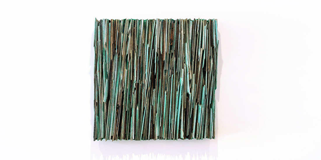 Green (vertical), 2018, mixed media, 72 x 72 cm