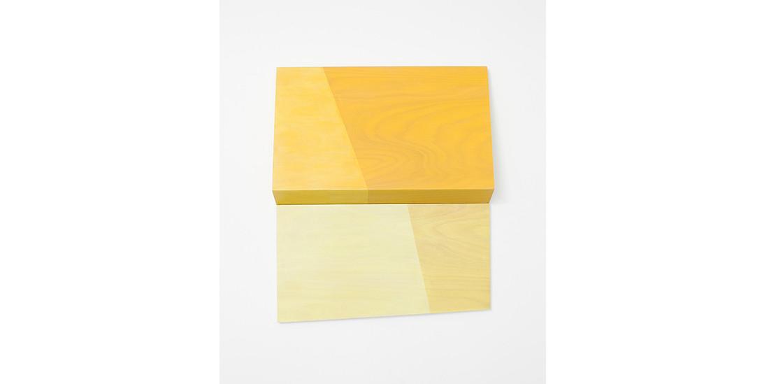 Folding Yellow-Divided, 2013, acrylic on wood, 81 x 93 x 15 cm