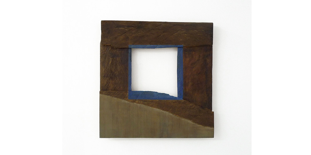 Blue Square, 2013, acrylic and wood stain on wood, 74 x 76 cm