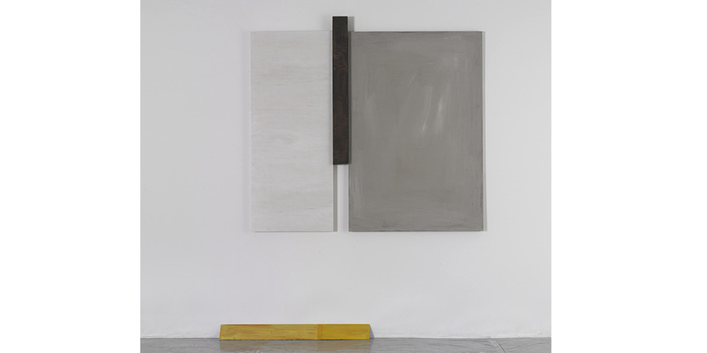 Construction- Two Bars I, 2013, acrylic and wall paint on wood, 122 x 141 cm