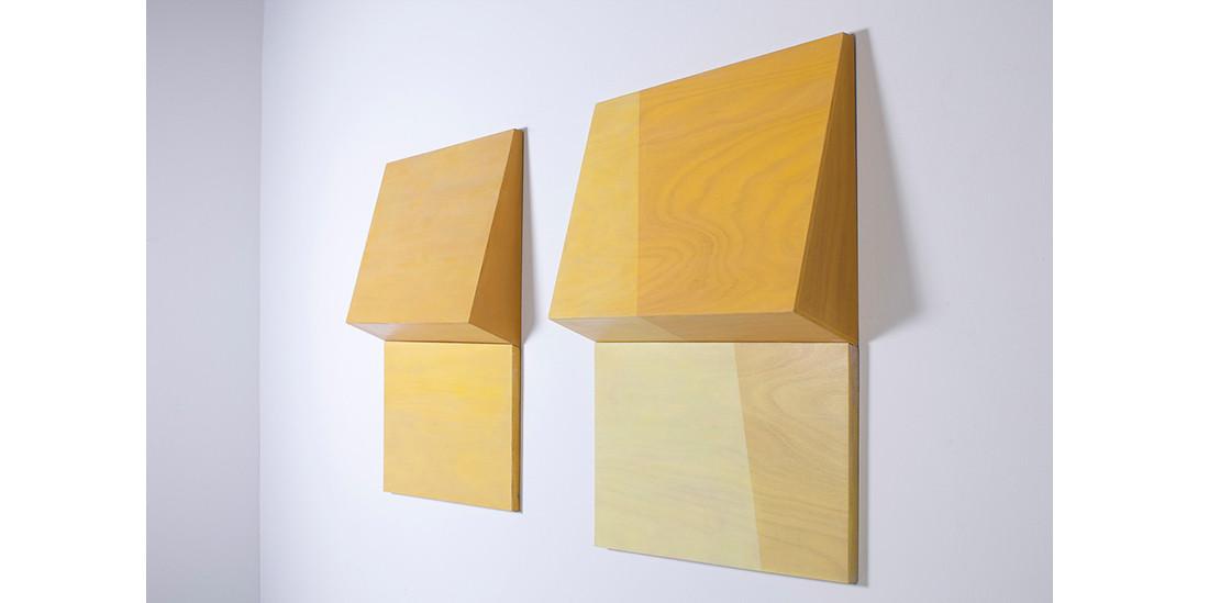 Folding Yellow / Folding Yellow-Divided, 2013, acrylic on wood, 81 x 93 x 15 cm each