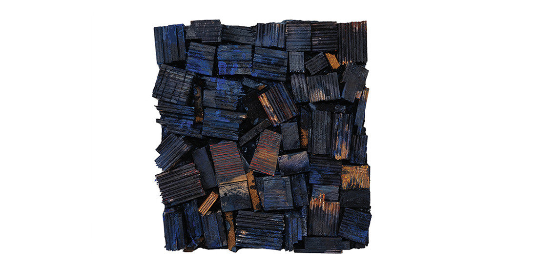 Blue and Brown, 2017, mixed media, 57 x 53 cm