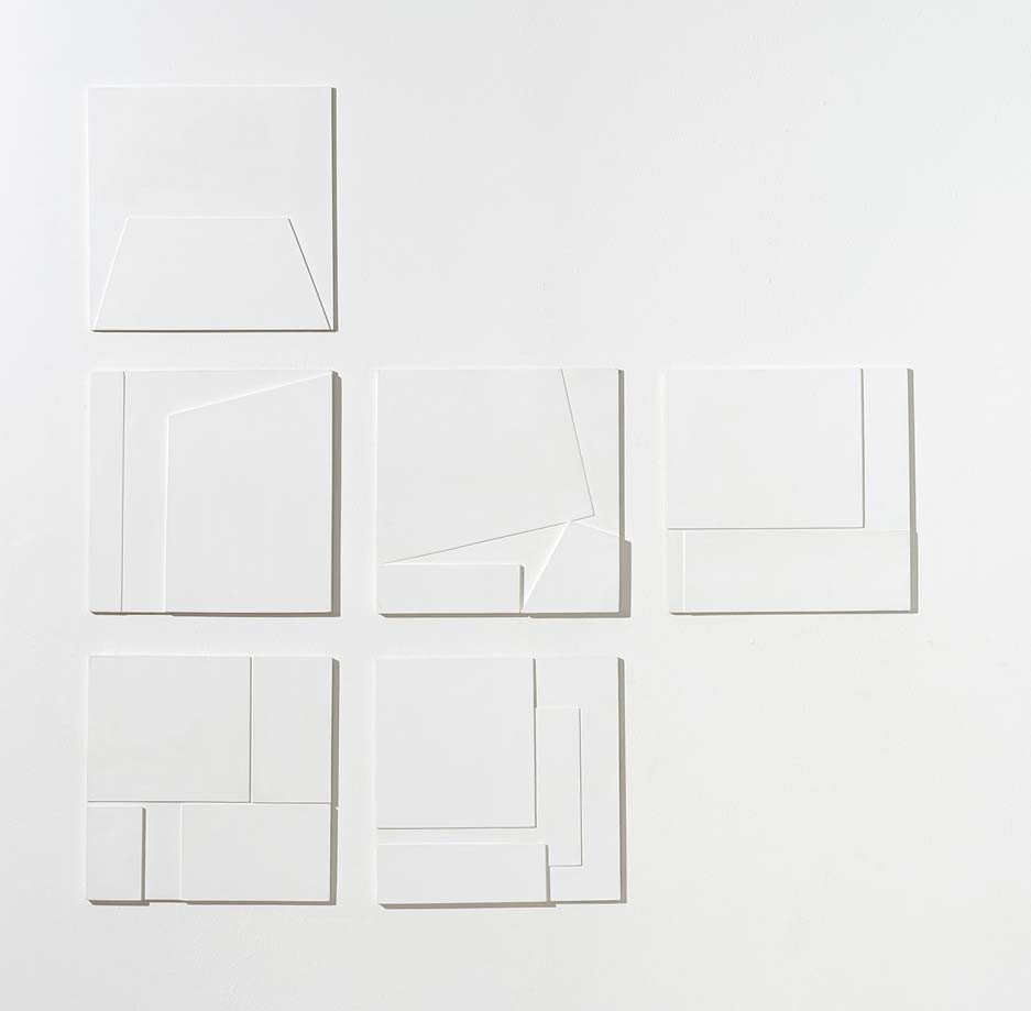 White Reliefs, 2011, wall paint on MDF, 30 x 30 cm (each)