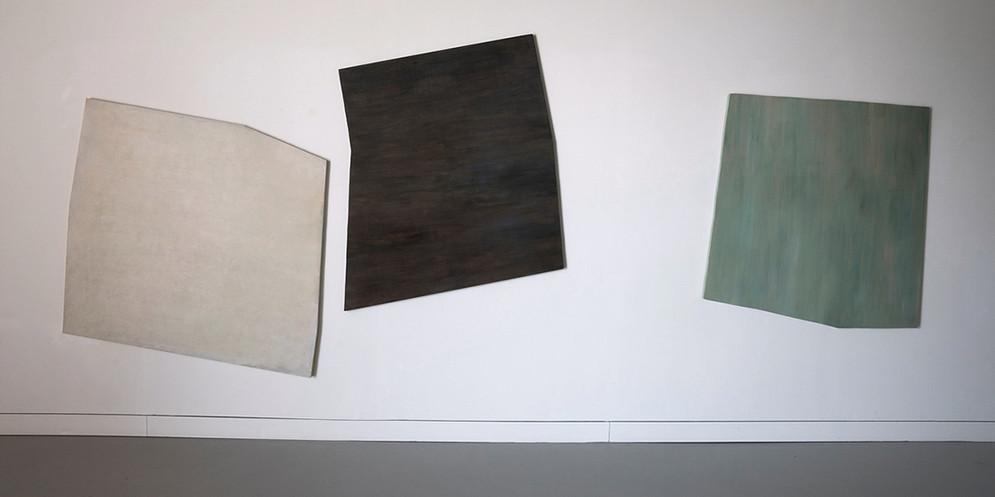 Alteration-Cream, 2013, acrylic on wood, 133 x 122 cm_Alteration-Transparent Black, 2013, acrylic on wood, 130 x 118 cm_Alteration-Green, 2013, acrylic on wood, 120 x 125 cm