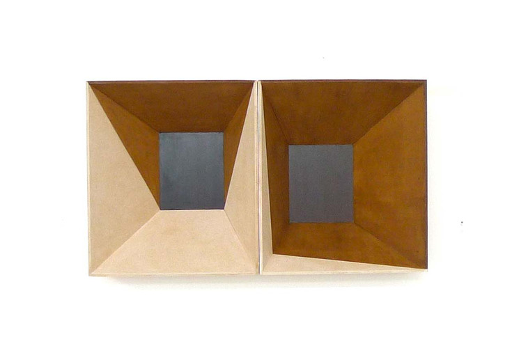 Two brown boxes, 2013, wood stain on MDF, 70 x 52 x 22 cm