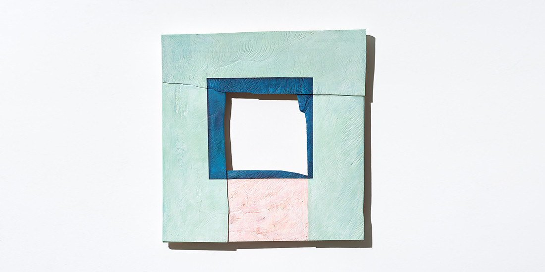 Blue Square with Pink, 2019, acrylic on wood, 58 x 57 cm