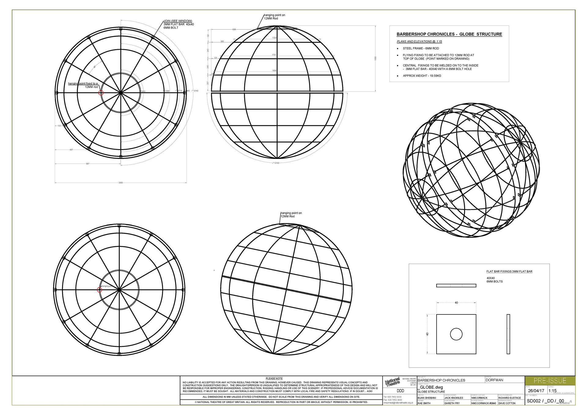 Globe Construction Drawing