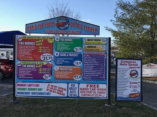 Cleanway hand car wash menu board
