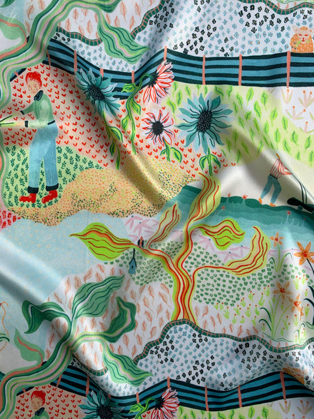 Garden Bloom on Silk Satin