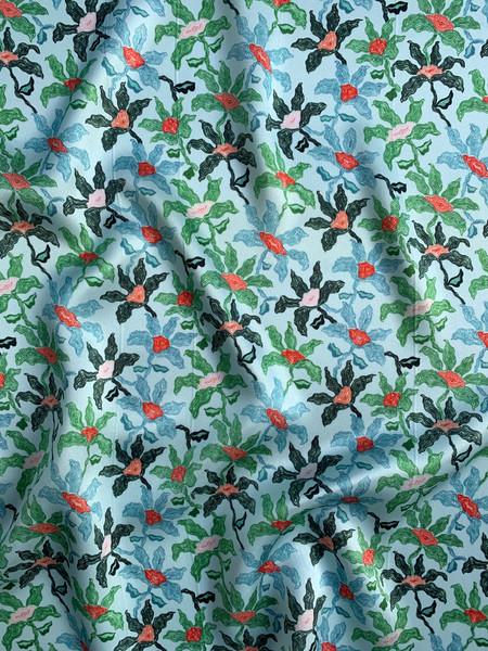 Static Floral on Silk Satin