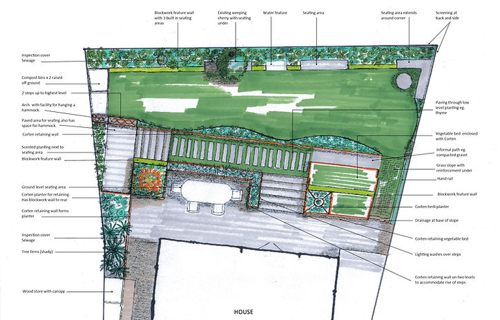 27A Willow Bank garden plan with annotat