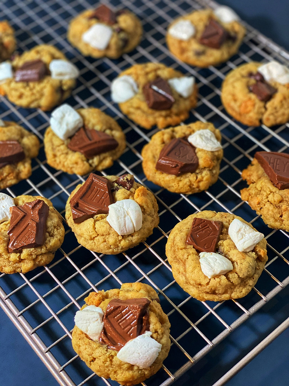 chocolate chip s'mores cookies with Hershey's and marshmallows