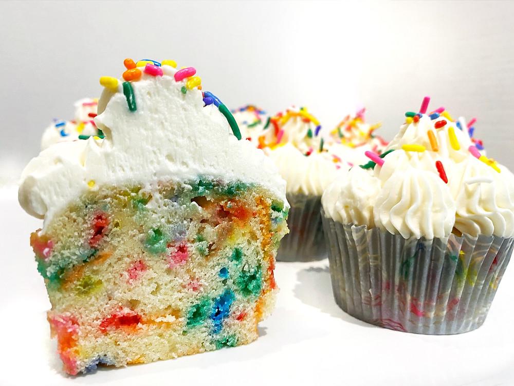 funfetti cupcakes and vanilla frosting