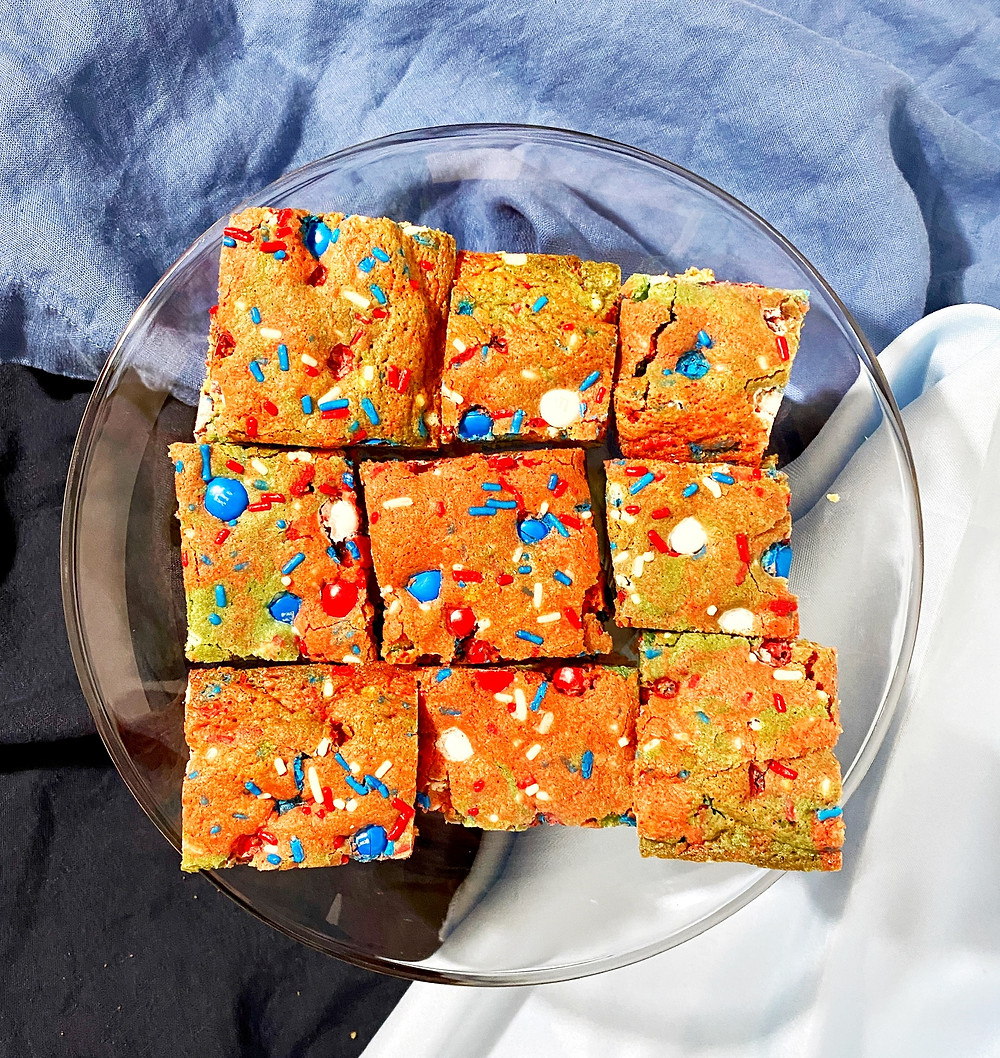 red, white and blue blondies with m&m's and sprinkles. patriotic dessert