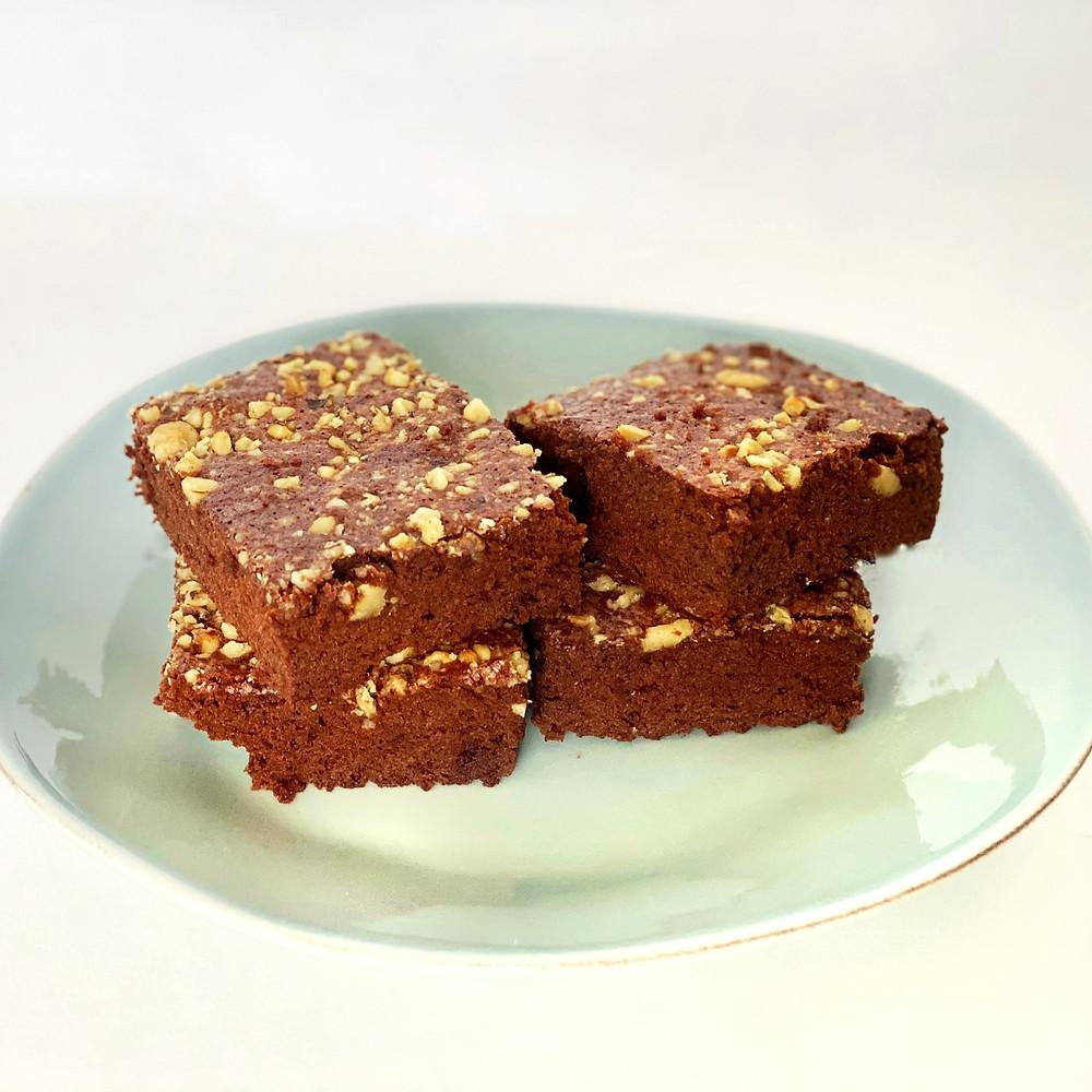 Dairy-free, parve brownies with walnuts