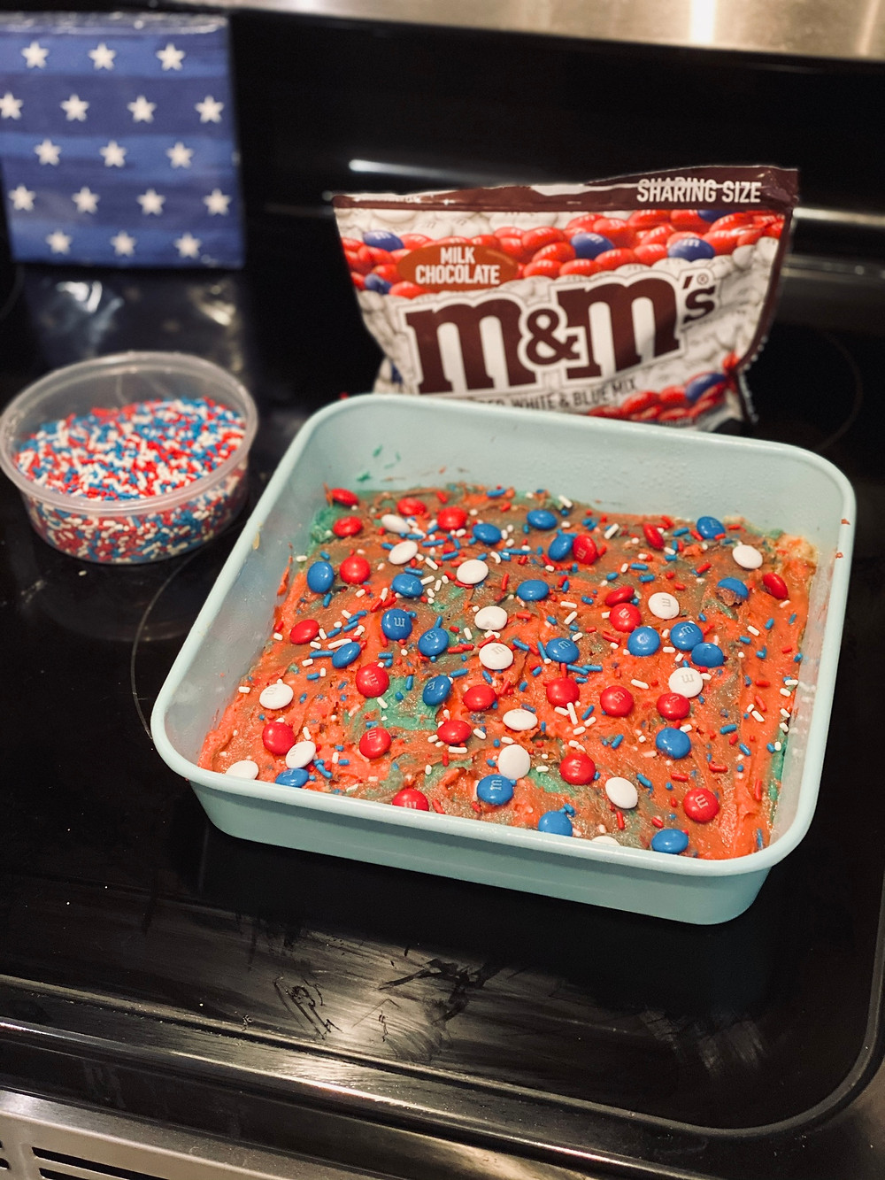 Blondies with red, white and blue m&m's and sprinkles