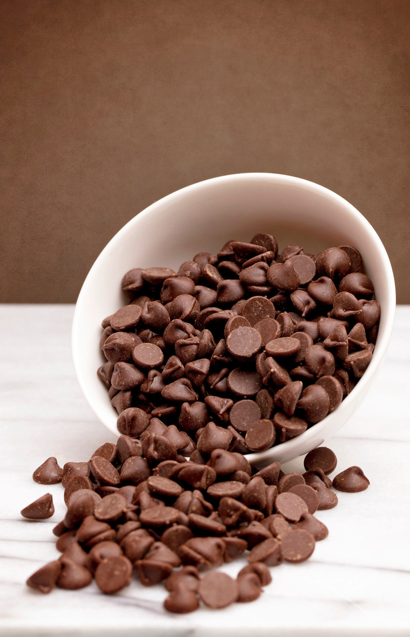 chocolate chips in a bowl