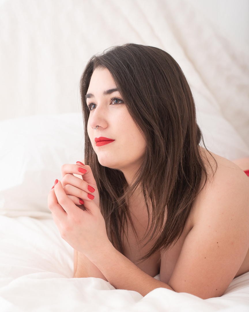 light and airy boudoir photograph