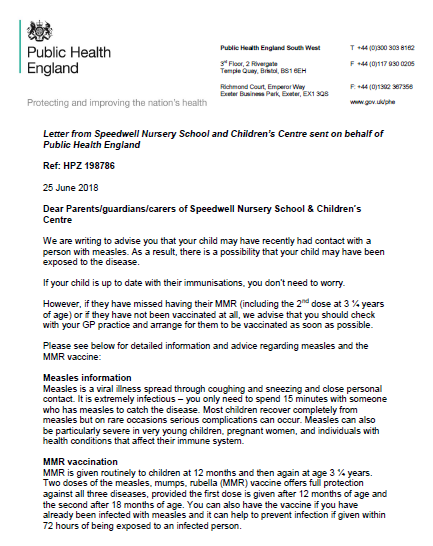 Letter from Public Health England about Measles