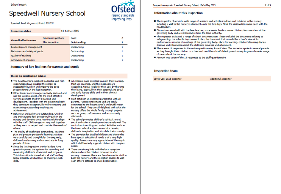 OFSTED Report May 2015
