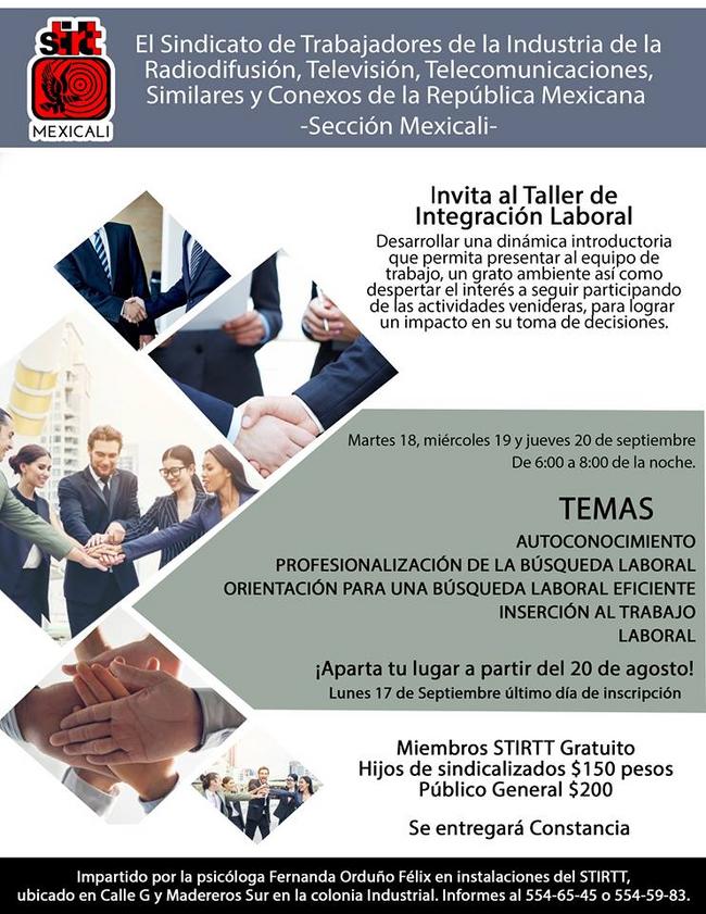 Invita al Taller de Integración Laboral