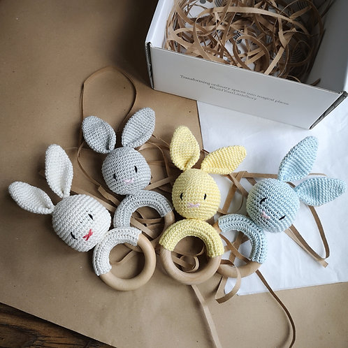 Little Stories x Mama H Bunny Soft Toy Wooden Teether