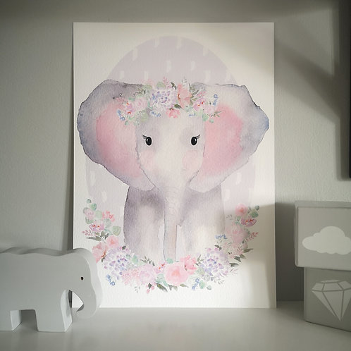 Little Stories x Pops and Buds Floral Elephant Print
