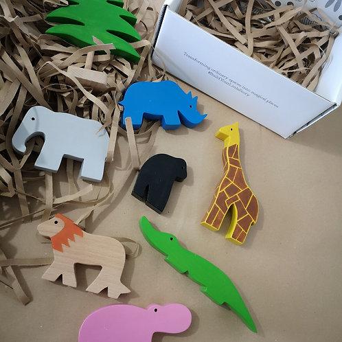 Wild & Wonderful Set of Wooden Safari Animals