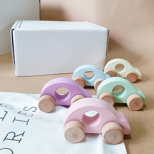 PASTEL WOODEN TOY CAR SET
