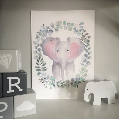 Little Stories x Pops and Buds Wreath Elephant Print