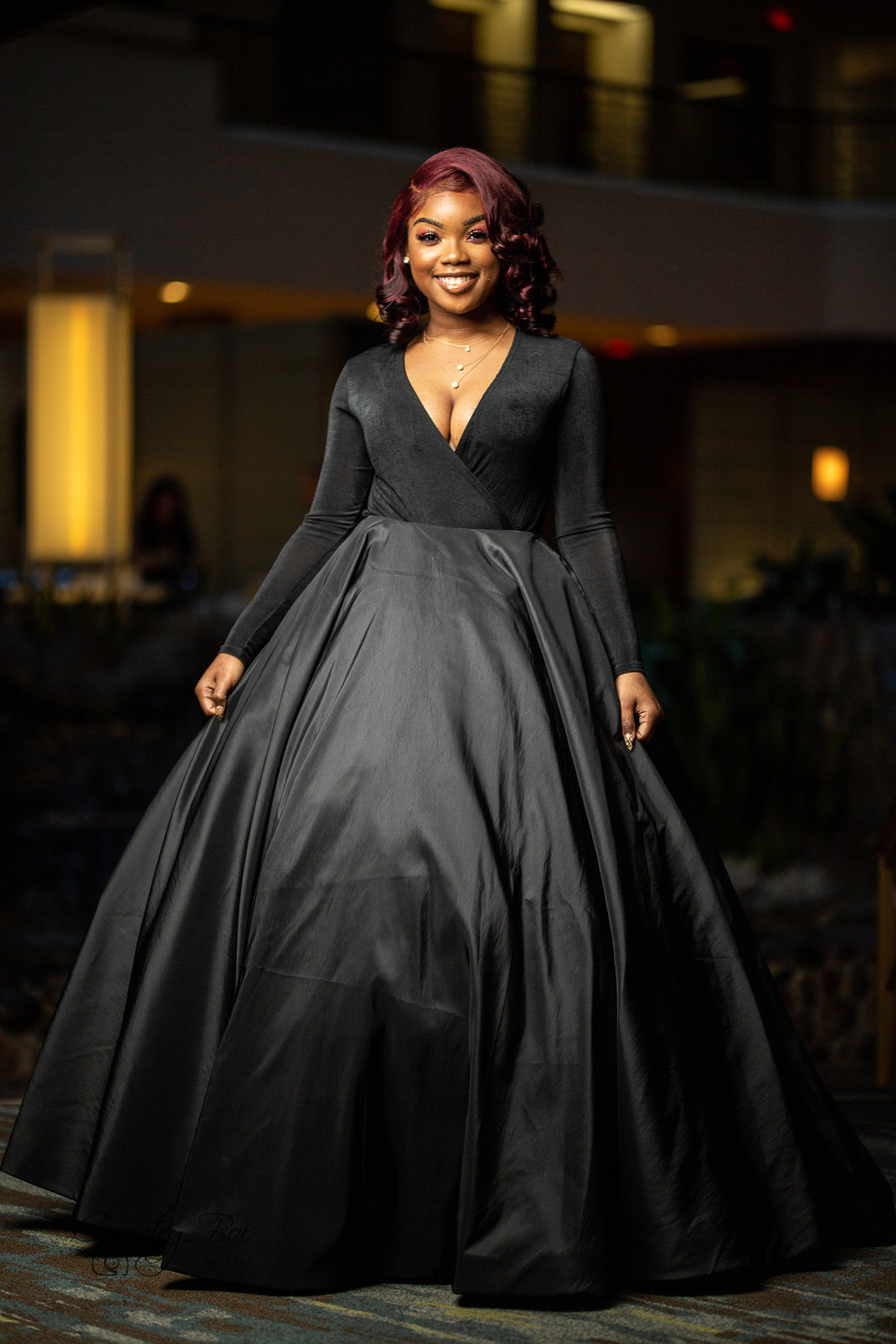 African american young woman in Prom dress in Hiltion hotel Gaslamp San Diego CA Ridgecrest Countryboiphotography.com
