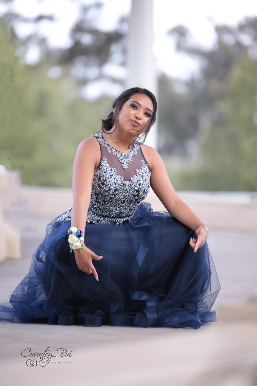 Lady Blue Prom dress at the Prada  in Balboa downtown San Diego Ca Ridgecrest Countryboiphotography.com