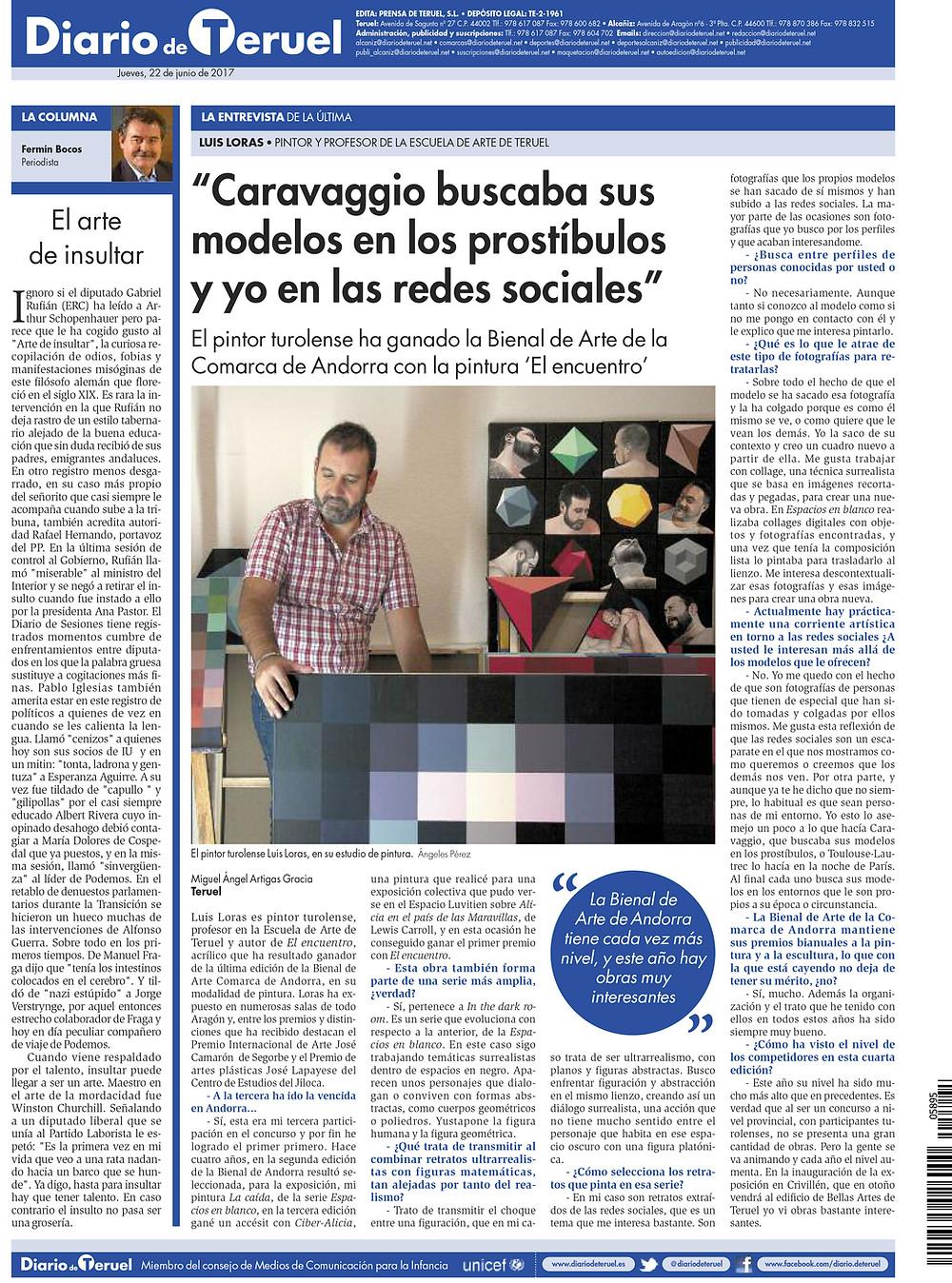 Entrevista de Luis Loras a página completa en la contraprotada del Diario de Teruel.