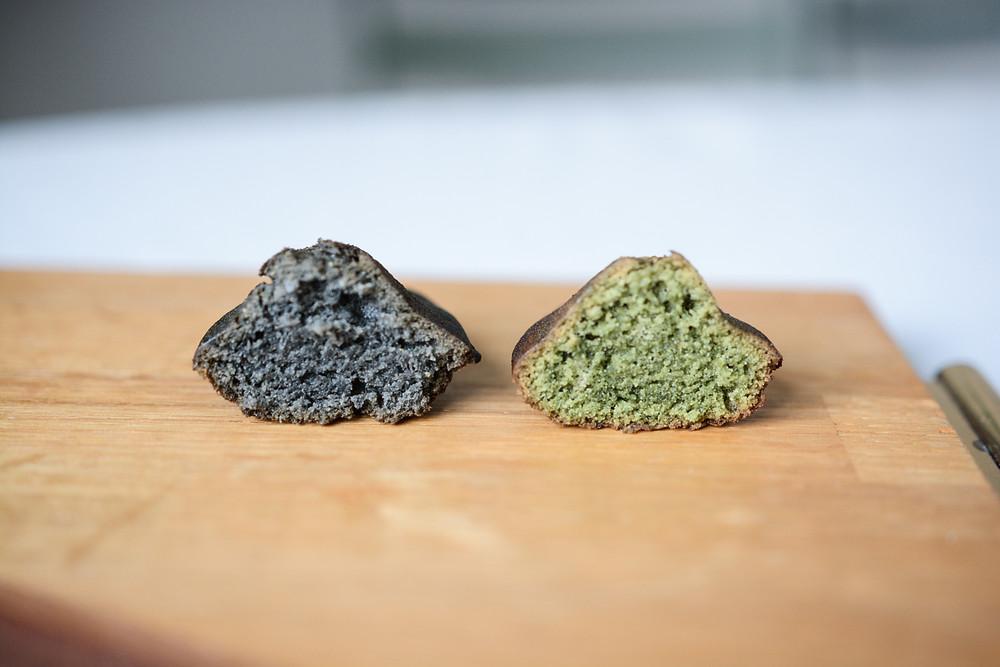 Madeleine vegan, charbon et chlorelle | Primesautier Traiteur Vegan