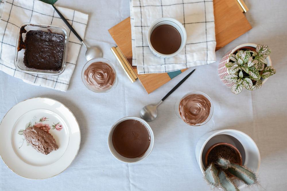 Dessert - crèmes et mousses au chocolat vegan - Primesautier traiteur