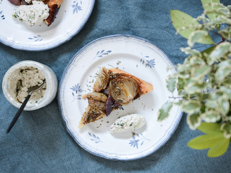 """- Recette - Tatin oignons, balsamique et """"ricotta"""" végétale de tournesol"""