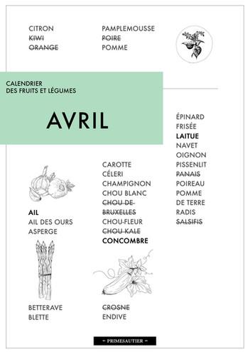 Avril calendrier des fruits et légumes Primesautier