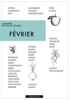 Février Calendrier Fuits et légumes Primesautier