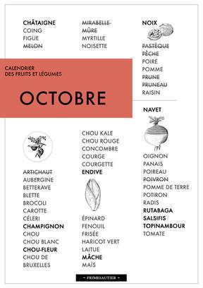 Octore calendrier des fruits et légumes Primesautier