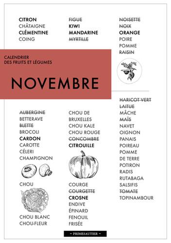 Novembre calendrier des fruits et légumes Primesautier
