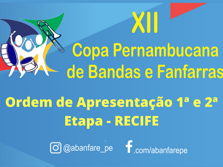 Ordem de Apresentação 1ª e 2ª Etapa - Recife- Atualizada