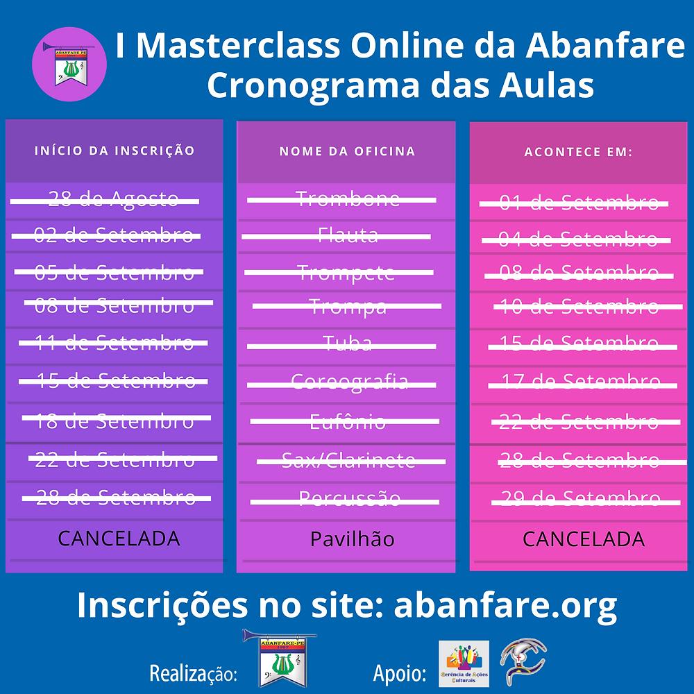 Cronograma das aulas, Masterclass, Abanfare-PE
