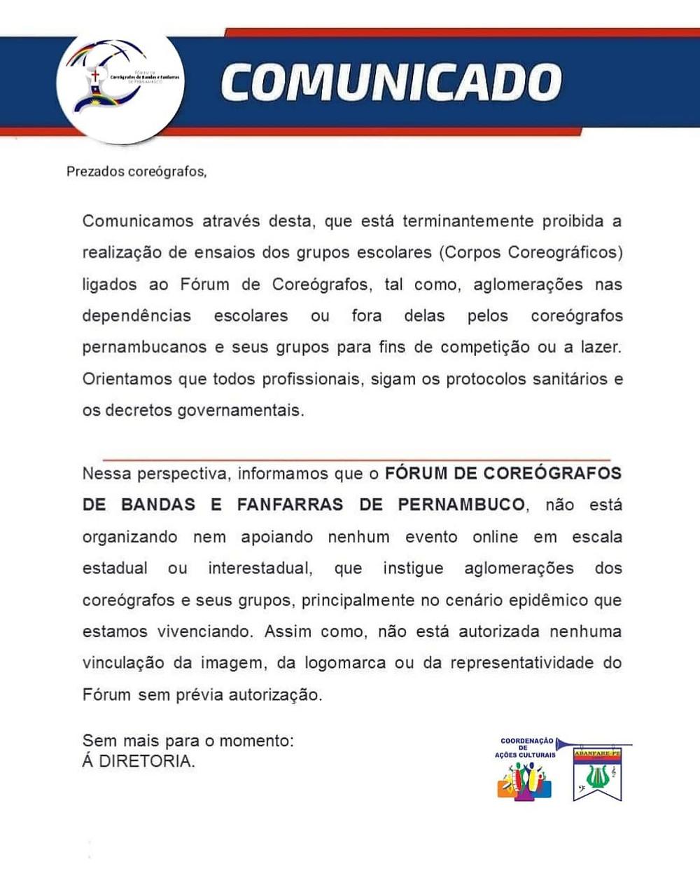 Atenção Coreógrafos, Forum de Coreógrafos de Banda e Fanfarras de Pernambuco, Abanfare - PE