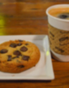 chocolate chip cookie with coffee